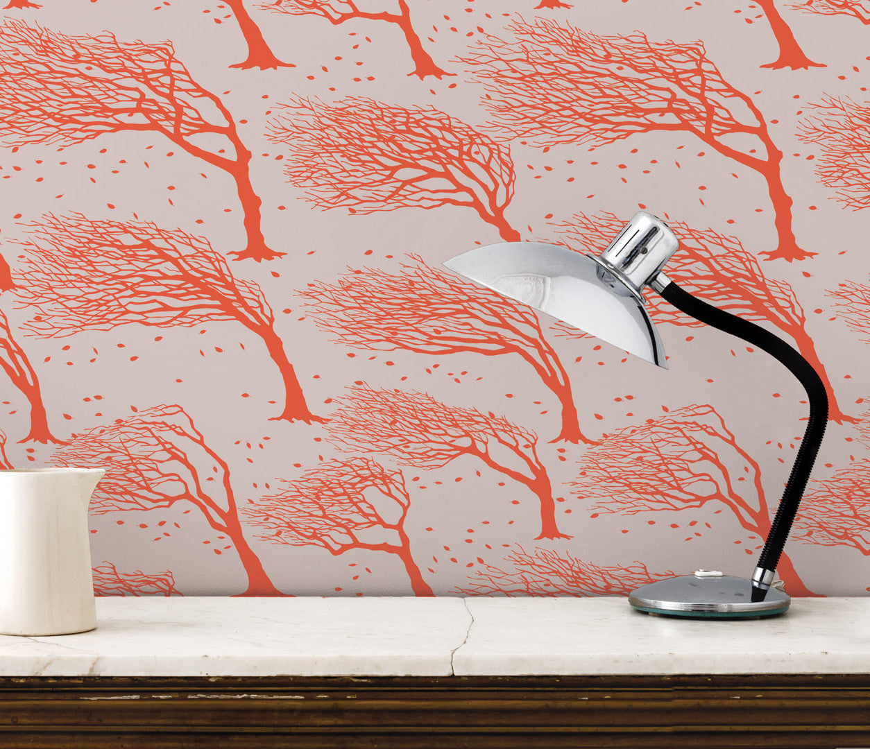 'Northeasterly' Windswept Trees Wallpaper in Sunrise Red