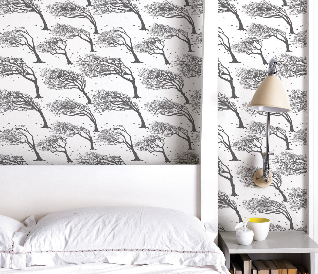 Wall Art Ideas: Economical Screen Prints, Printed Northeasterly Wallpaper in Dark Grey