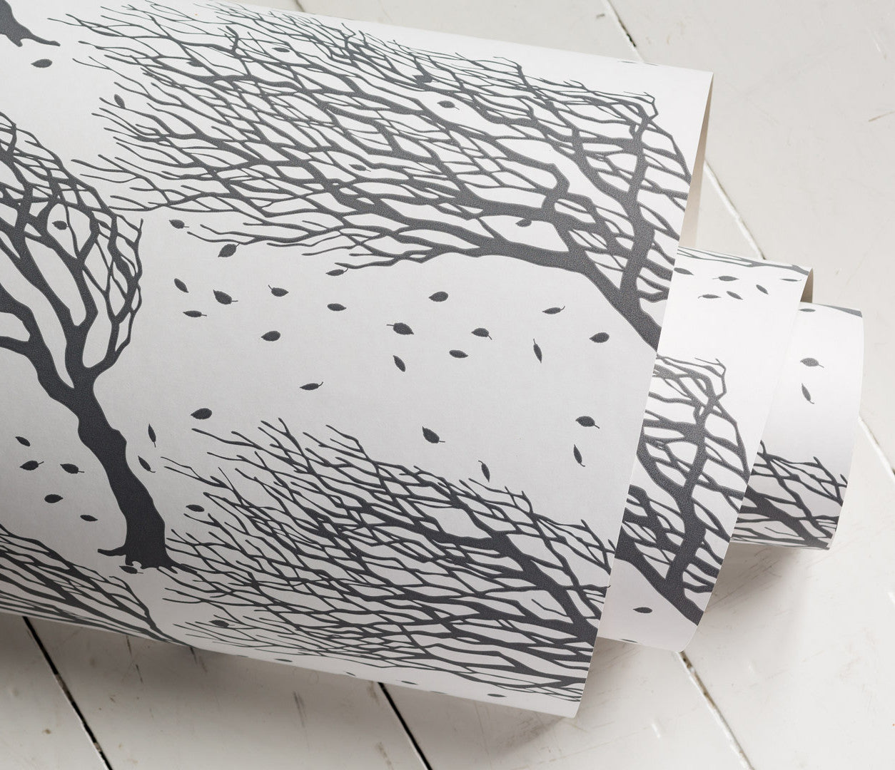 Close up of Wind Swept Trees Northeasterly Wallpaper in Dark Grey
