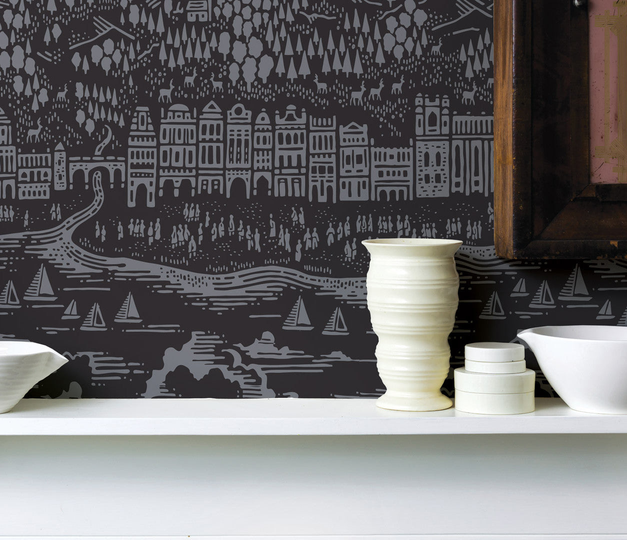Wall Art Ideas: Economical Screen Prints, Illustrated Wallpapers, Province Wallpaper in Dark grey