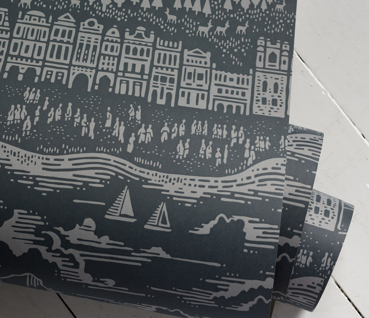 Close up of Province Town and County  Wallpaper in Dark Grey