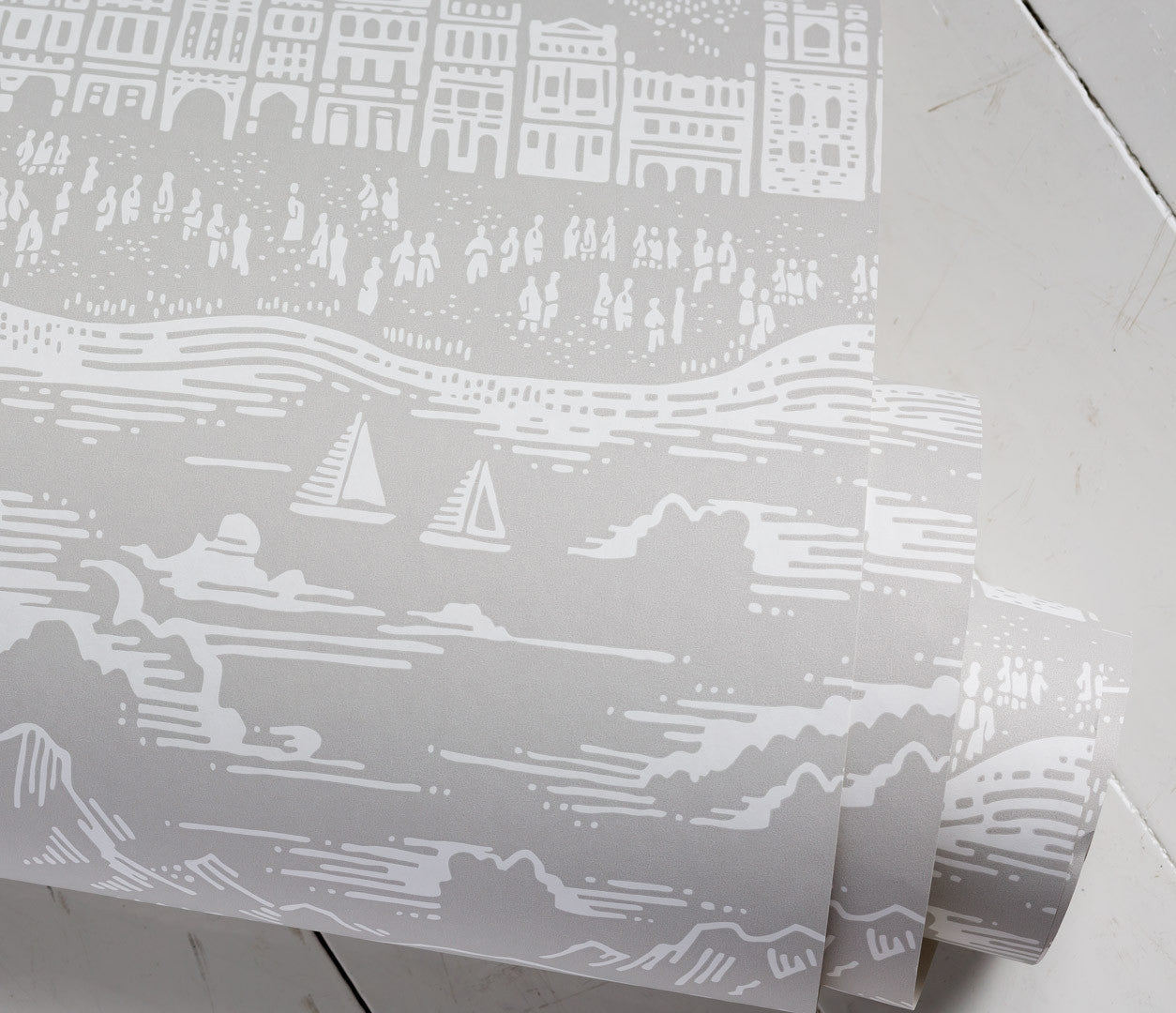 Close up of Province Town and County  Wallpaper in Light Grey