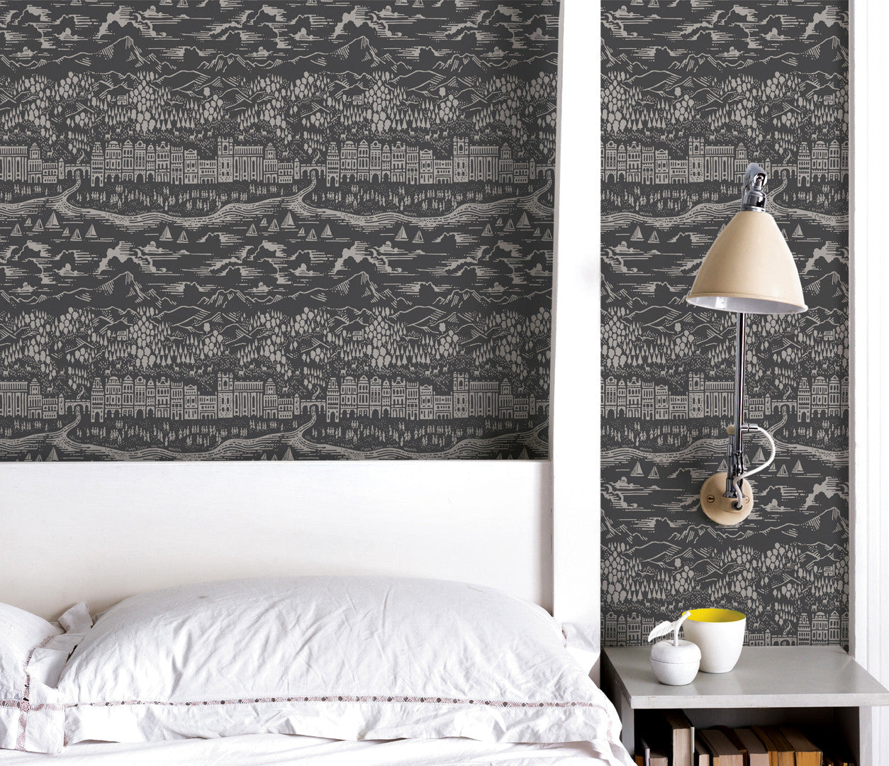 Wall Art where to start: Province Town and County Wallpaper, Dark Grey, Printed in the UK