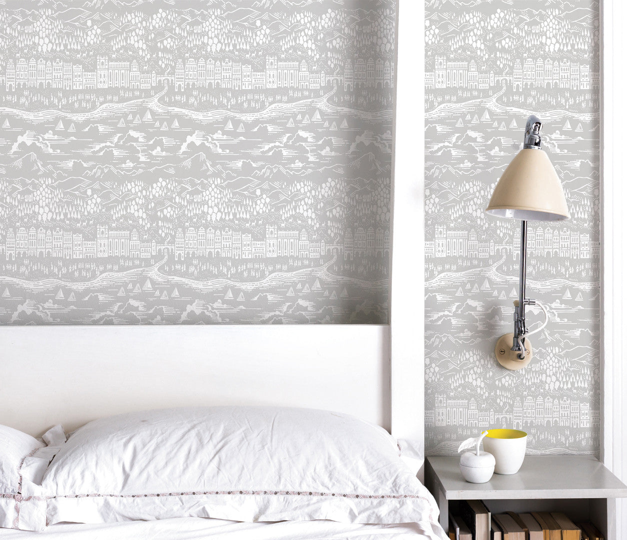Wall Art Ideas: Economical Screen Prints, Illustrated Wallpapers, Province Wallpaper in Light grey