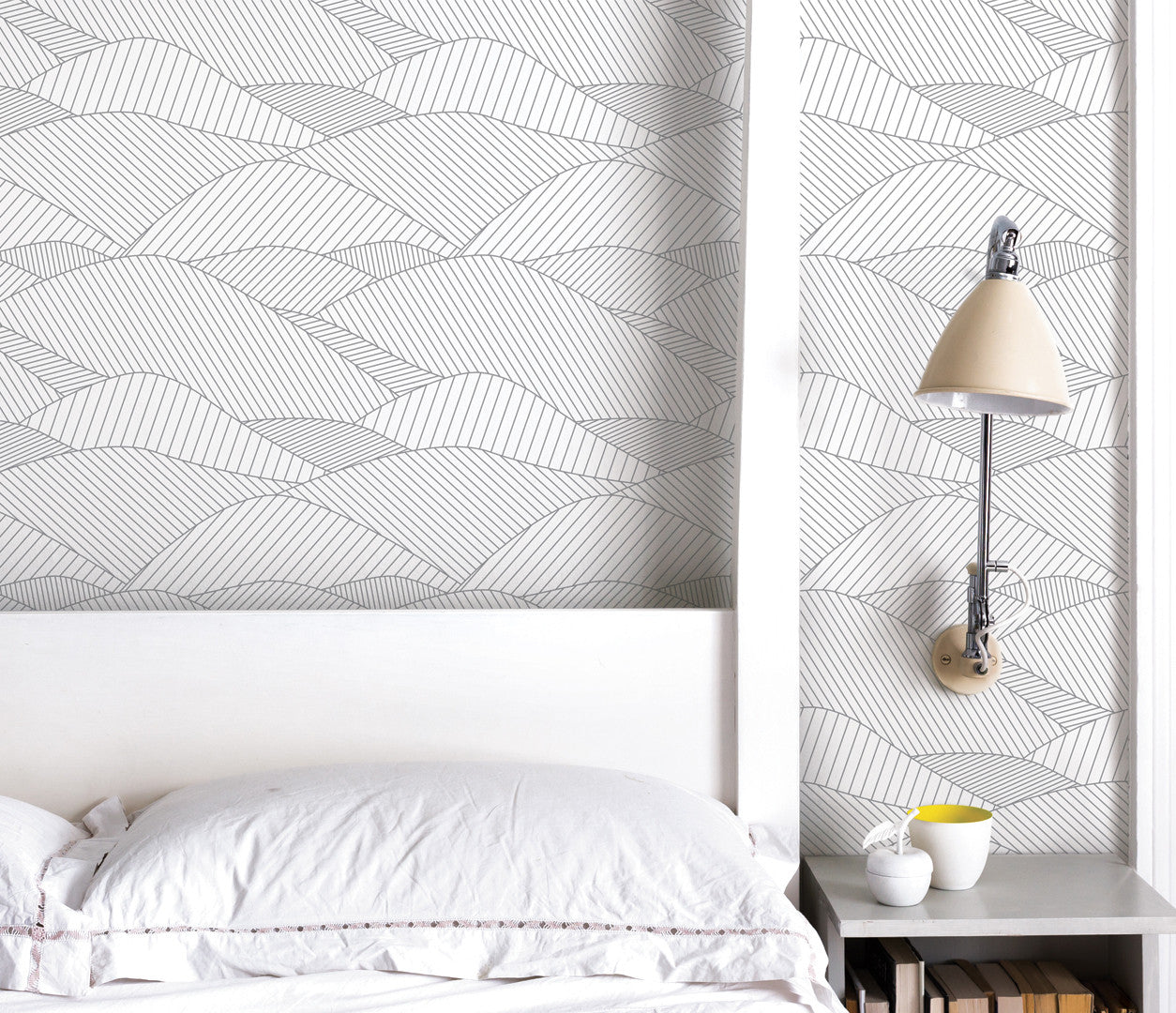 'South Downs' Rolling Hills Wallpaper in Heron Grey