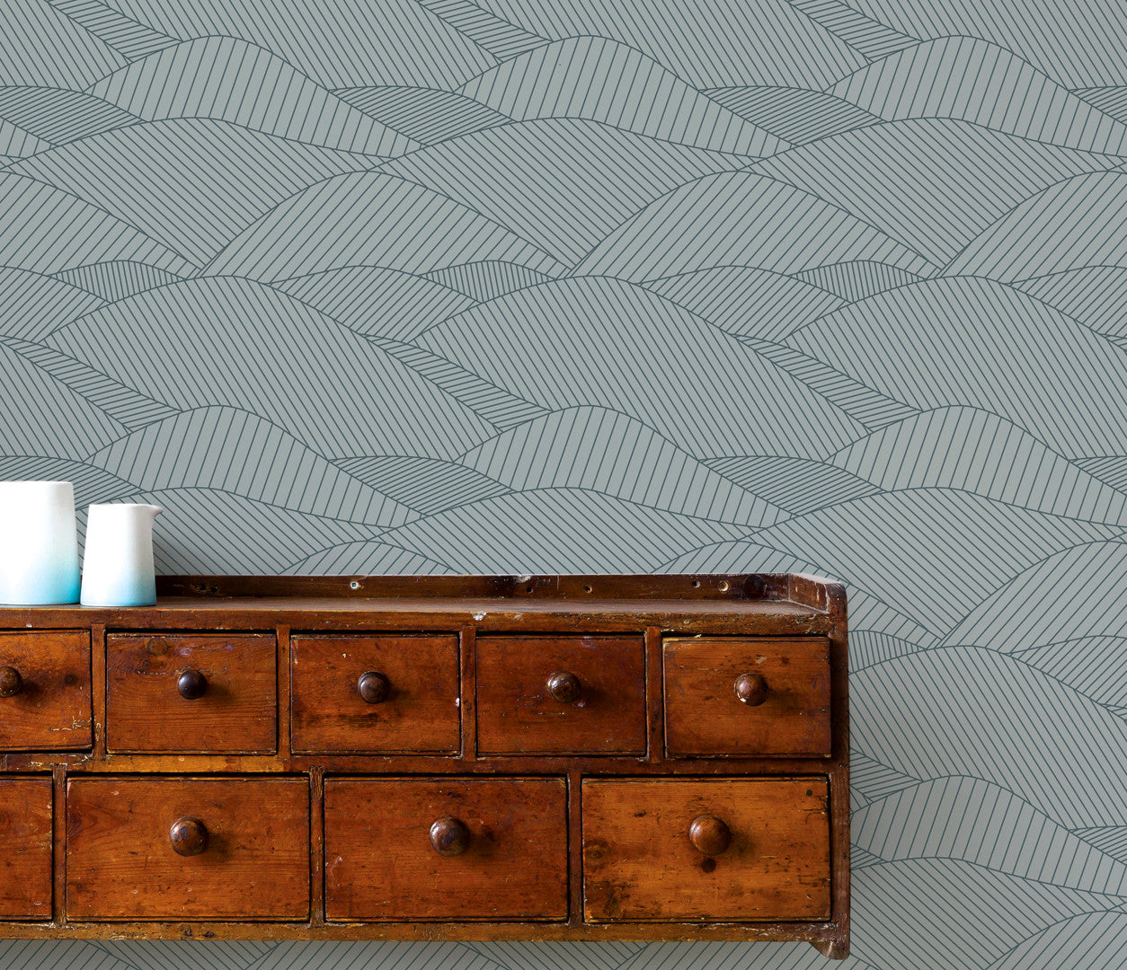 'South Downs' Rolling Hills Wallpaper in Sea Grey