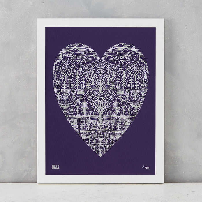 Wild Wood Art Print in Amethyst , screen printed in the UK, deliver worldwide