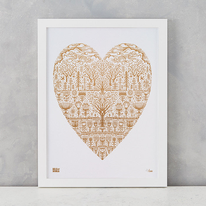Wild Wood Art Print in Bronze, screen printed in the UK, deliver worldwide