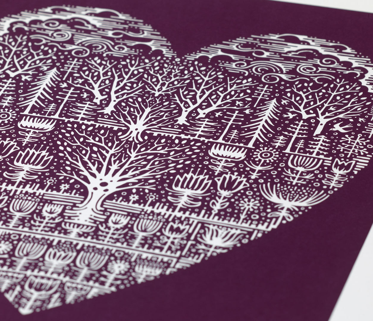 Close up of Wild Wood Art Print in Dark Mulberry