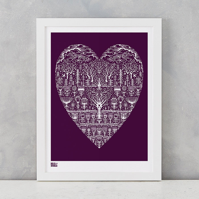 Wild Wood Art Print in Dark Mulberry, screen printed in the UK, deliver worldwide