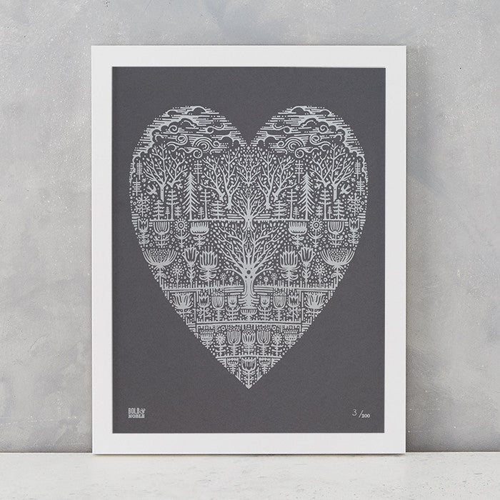 Wild Wood Art Print in Grey and Silver , screen printed in the UK, deliver worldwide