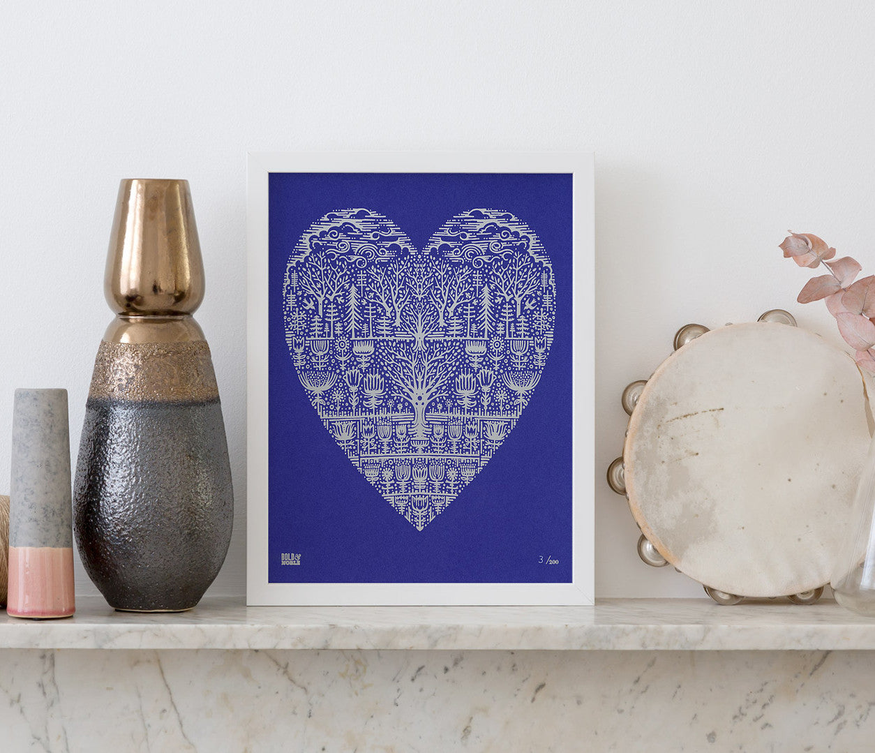 'Wild Wood' Foil Blocked Limited Edition Print/Royal Blue Card