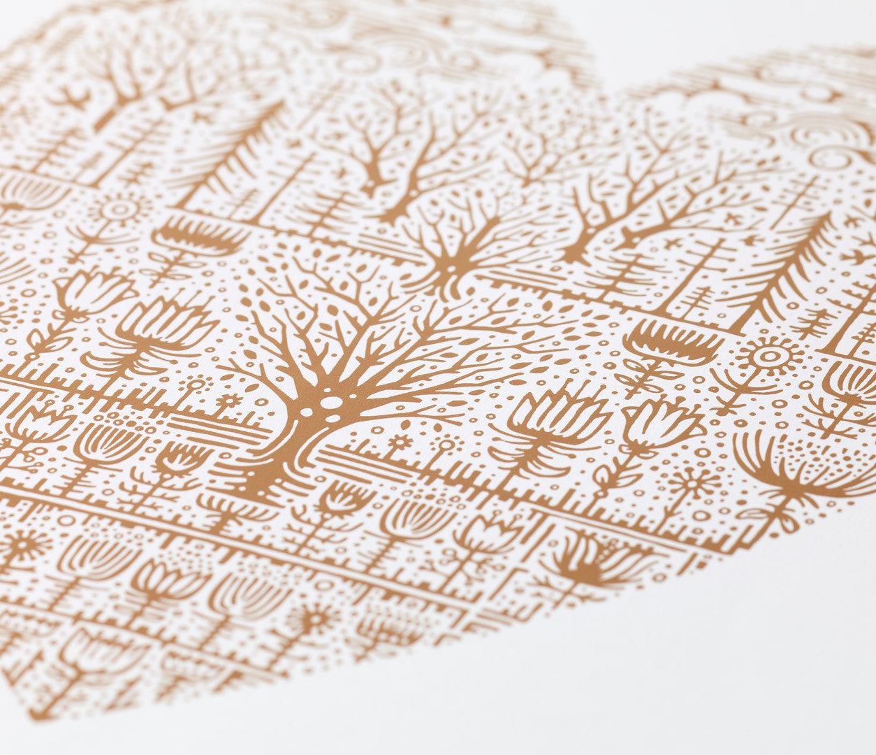 'Wild Wood' Foil Blocked Limited Edition Art Print in Copper