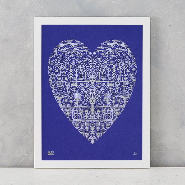 Wild Wood Art Print in Blue/ Silver , screen printed in the UK, deliver worldwide