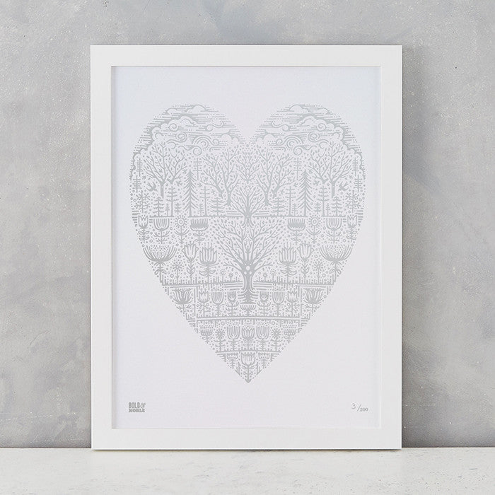 Wild Wood Art Print in Silver, screen printed in the UK, deliver worldwide