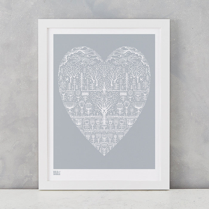Wild Wood Art Print in Light grey, screen printed in the UK, deliver worldwide