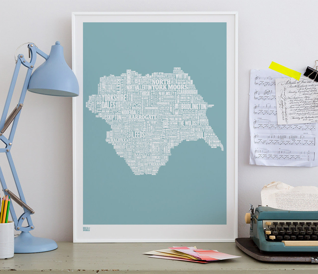 'Yorkshire' Type Map Print in Coastal Blue