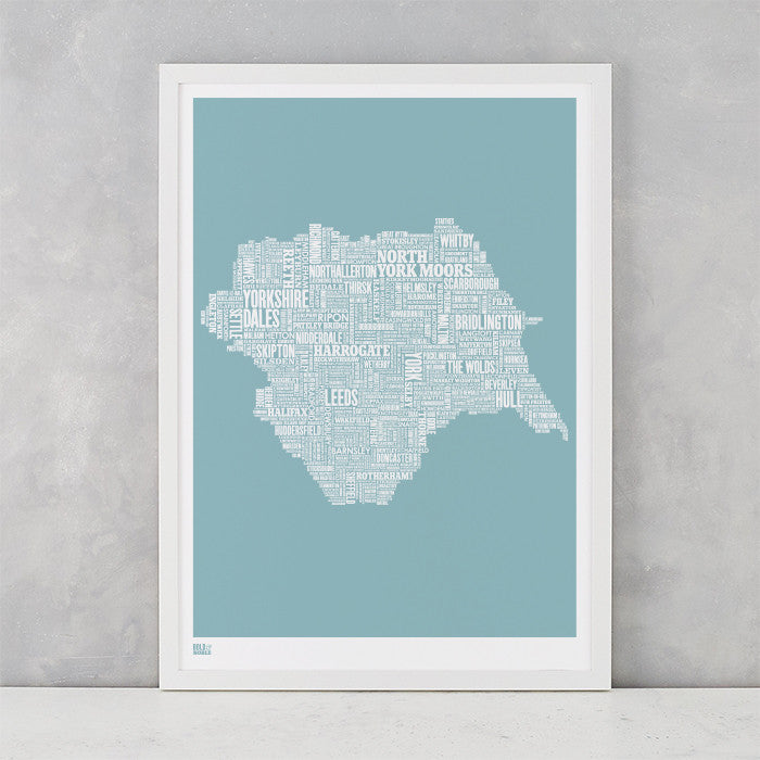 Yorkshire Type Map Print, screen printed in the UK, deliver worldwide