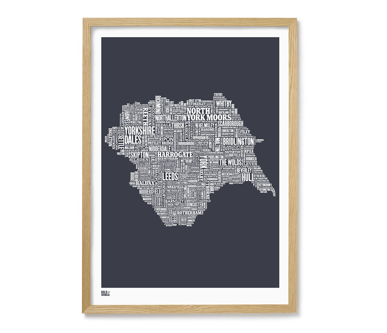 Yorkshire type map print in sheer slate bold noble buy now gumiabroncs Image collections