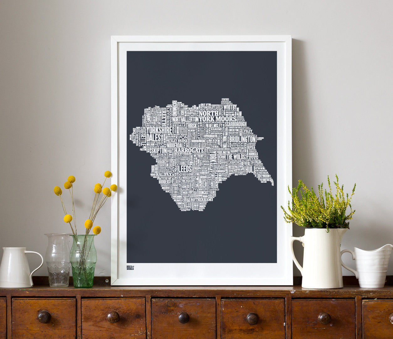 'Yorkshire' Type Map Print in Sheer Slate