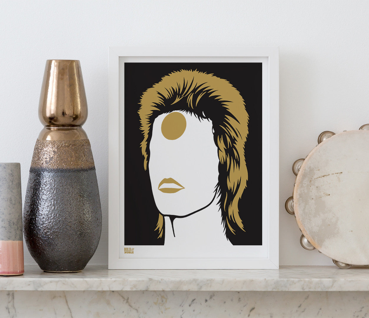 Pictures and Wall Art, Screen Printed David Bowie Ziggy Stardust in Bonze