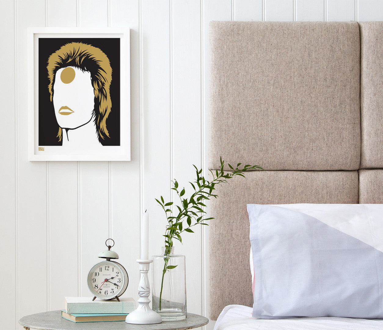 Wall Art ideas: Economical Screen Prints, David Bowie Ziggy Stardust in Bronze