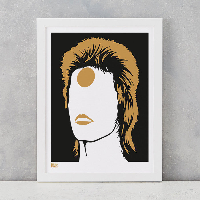 David Bowie Ziggy Stardust in Bronze, screen printed onto recycled card, delivered worldwide