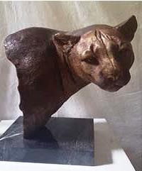 Bronze 'Mountain Lion Bust' on Marble Base 50cm
