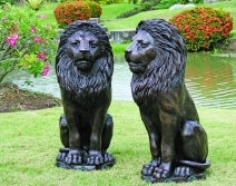 Bronze '2 Sitting Lions on Base' 85cm