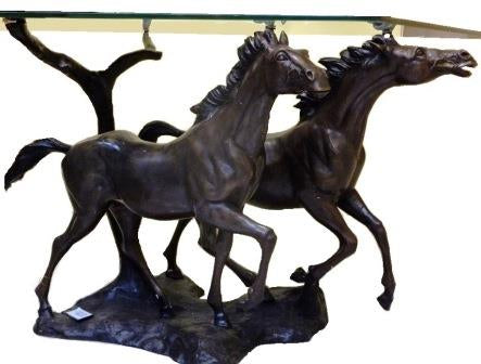 Bronze '2 Horse Table' 72cm (ohne Glas)
