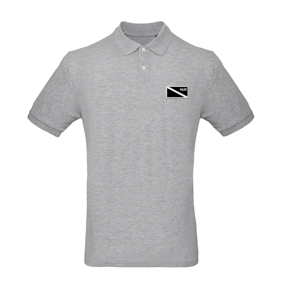 Men's Organic Black Diver Down Polo – Heather Grey