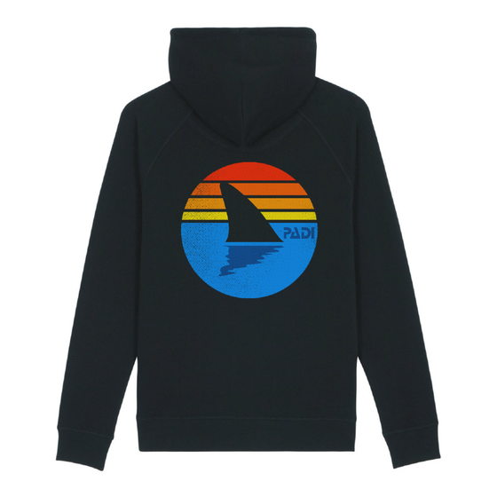 Retro Shark Fin Eco-Friendly Hoodie – Black
