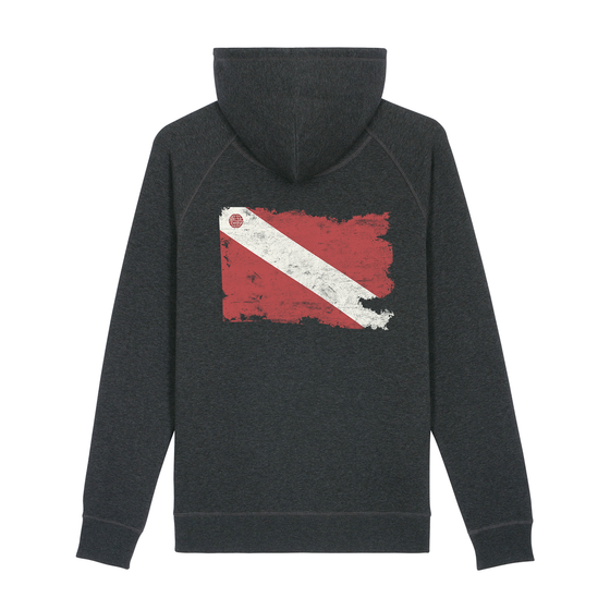 Torn Dive Flag Eco-Friendly Hoodie - Dark Heather Grey