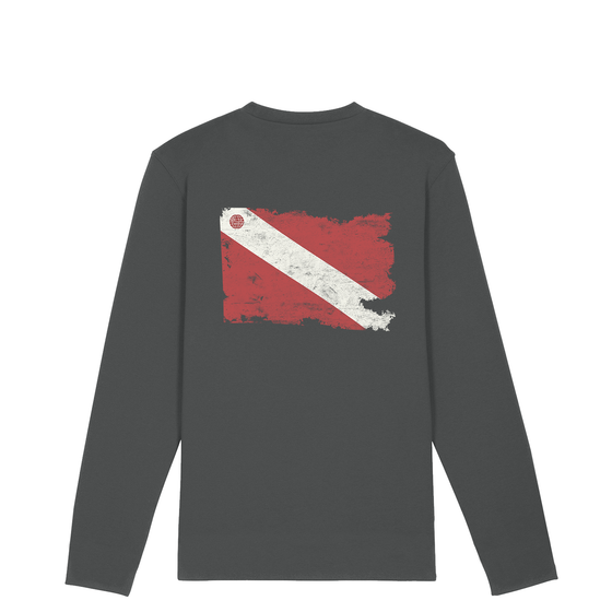 Men's Organic Torn Dive Flag Longsleeve Tee – Anthracite