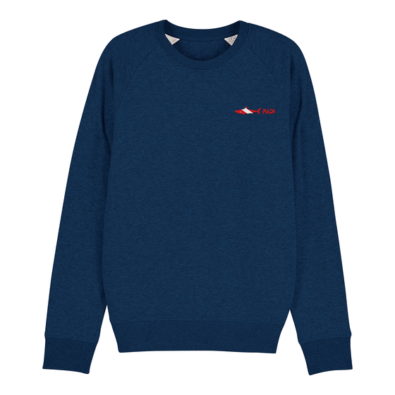 Dive Flag Shark Crewneck Eco-Friendly Sweatshirt – Black Heather Blue
