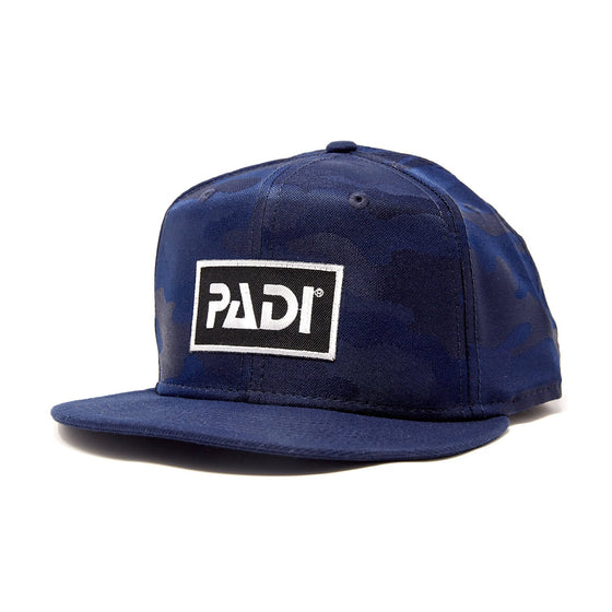 PADI Flat Bill Trucker Hat Navy/Blue Camo