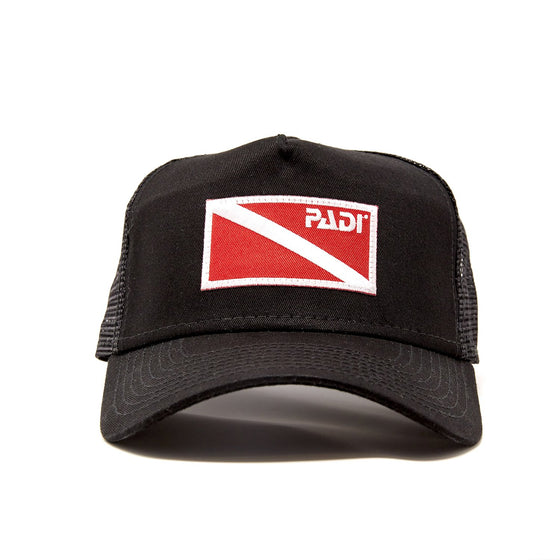 Diver Down Trucker Hat Black with Red/White Flag