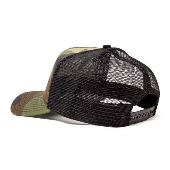 Diver Down Trucker Hat Olive Camo with Red/White Flag