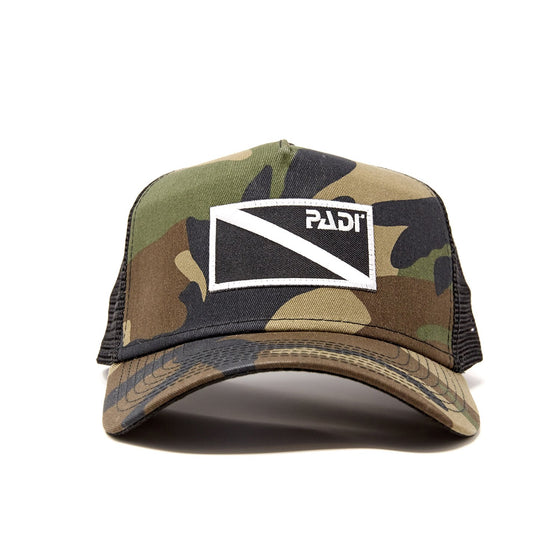 Diver Down Trucker Hat Olive Camo with Black/White Flag