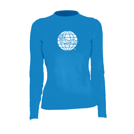 PADI Globe Women's Rash Guard – Electric Blue