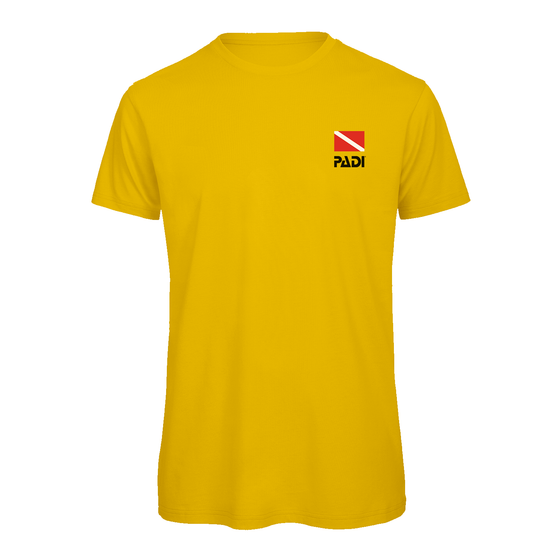PADI Dive Flag Series Left Chest Print T-Shirt- Gold