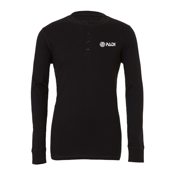 Men's Long Sleeve Henley Tee - Black