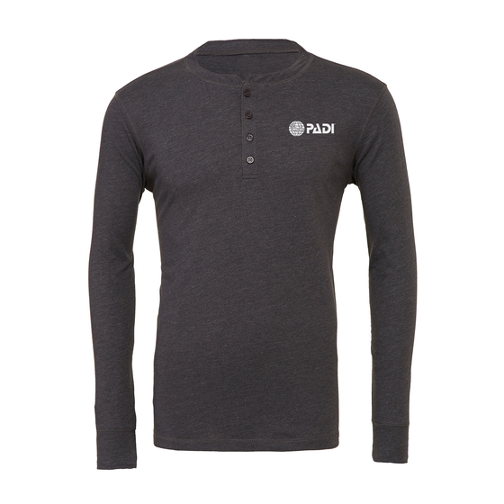 Men's Long Sleeve Henley Tee - Dark Heather Grey