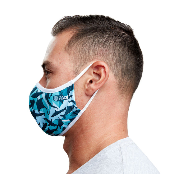 Mask - Geometric Shark Recycled Plastic Face Mask With Filter Pocket + 5 Filters