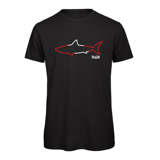 PADI Shark Outline Tee -Black