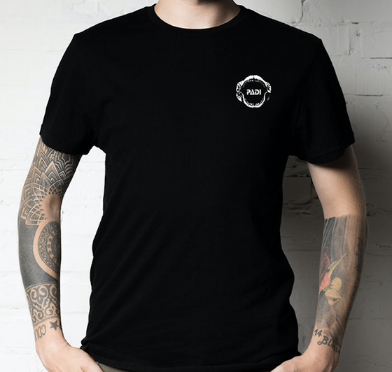 PADI White Megalodon Black T-Shirt