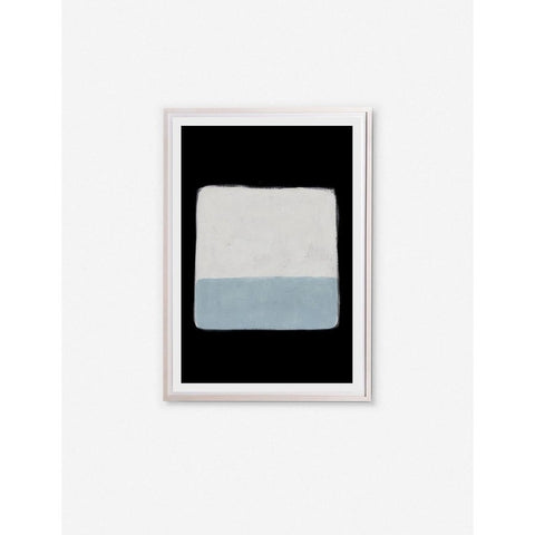 """Soft blue and white """"Beach"""" art print in white frame with black matting"""