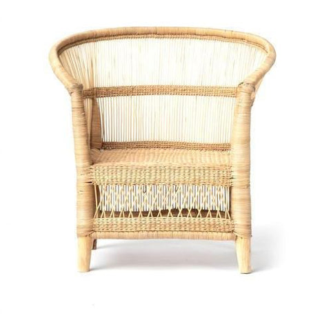 Image of woven rattan accent lounge chair in natural color
