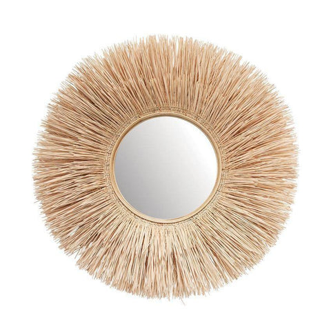 Round wicker wall mirror in natural color