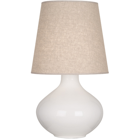 Image of classic off-white table lamp with beige linen shade
